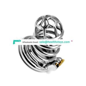 304 Stainless Steel Metal Cage With Anti-off ring Chastity Device Bird Cock Lock Bondage Cage Sex Toy For gay Adult Penis Ring