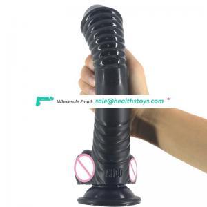 CHGD014 Sex Shop 22.5*5cm Spiral Design Curved Screw-Thread Shape Long Suction Dildo Sex Women Pussy Faak Animal Dildo