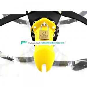 FAAK 10cm Yellow plastic cage urethral chastity device for male keyholder chastity  penis cage wholesale sex toys chastity belt
