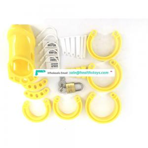 FAAK 10cm Yellow plastic cage urethral chastity device for male keyholder chastity  penis cage wholesale sex toys