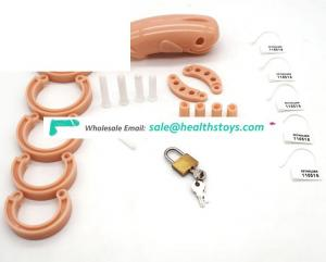 FAAK 13cm Fish head shape lock penis cock cage animal Plastic chastity cage for male chastity device