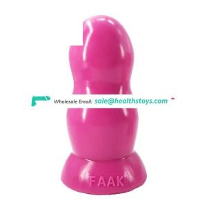 "FAAK 15cm 5.9"" 5.7cm thick silicone dildo big anal toys huge butt plug double round ball shape pink adult sex toys 4 men for men"