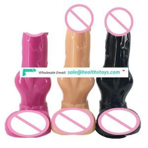 "FAAK 20.8cm 8.18"" thick 4.1cm animal silicone sex toys realistic lifelike soft flexible dog dildo shape butt plug anal for women"