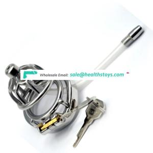 FAAK 5.8cm SM sex products 304stainless steel metal  penis cage for male chastity device with catheter chastity cage