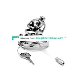 FAAK 57mm curved ring cock cage chastity device with catheter chastity cage metal penis cage for male  SM sex products
