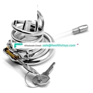 FAAK 58mm 304 stainless steel penis cage for male chastity device with catheter Clasp sex products chastity cage
