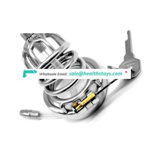 FAAK 67mm curved ring  304stainless steel chastity device with catheter chastity cage metal penis cage for male SM sex products