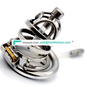 FAAK 6cm 304 stainless steel penis cage for male chastity device with catheter Clasp metal chastity cage for men SM sex products