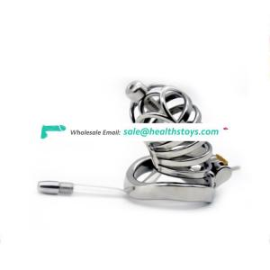 FAAK FRRK Male Chastity Device Long Cock Cage metal Chastity Belt Penis sex cock cage with Urethral Catheter for adult sex games