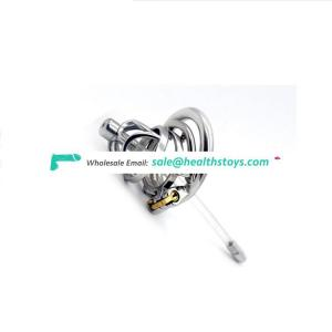 FAAK Male Prison Cage Chastity Device 304 Stainless Steel Cock Ring With Catheter Anti-off ring Bondage Cage Punishment Games