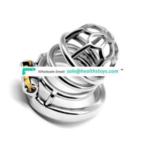 FAAK Stainless Steel Chastity Device Cock Cage Dick Cage Virginity Lock Male Sex Toys Male Cock Cage with 3 Size Penis Ring