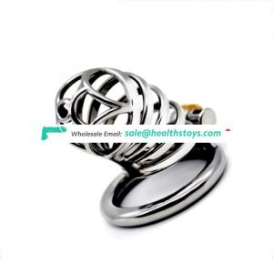 FAAK Stainless Steel Stealth Lock Male Chastity Device Cock Cage virginity Belt Penis Cock Ring metal chastity device for men