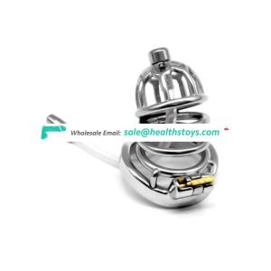 FAAK Stainless Steel metal penis cage male padlock chastity device bondage cock cage penis Lock sex toy cock cage adjust for men