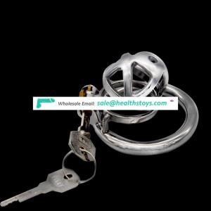 FRRK 4.9cm sex shop  chastity lock penis in cage with keyholder Male chastity device  chastity cage 304 stainless steel