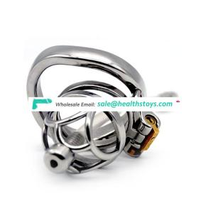 FRRK 56mm 304 stainless steel  curved ring cock cage penis cage chastity cage Male chastity device with catheter