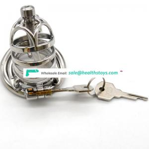 FRRK 6.6cm metal chastity cage lock penis in cage with keyholder Male chastity device  chastity lock metal sleeve sex toys