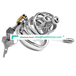 FRRK 60mm 304 stainless steel sm sex toys penis cage with keyholder Male chastity device with catheter curved ring chastity cage