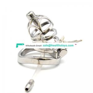 FRRK 66mm Male chastity device with catheter 304 stainless steel cock cage penis cage cock ring metal chastity cage