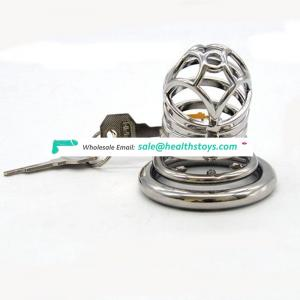 FRRK 66mm SM sex product lock penis in cage with keyholder stainless steel lock  chastity device metal chastity cage