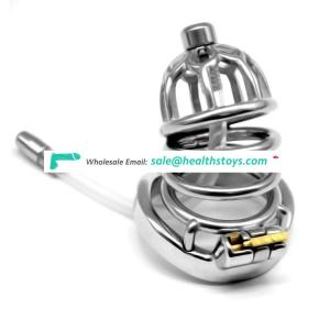 FRRK 67mm 304 stainless steel Male chastity device with catheter curved ring chastity cage sm sex toys penis cage with keyholder