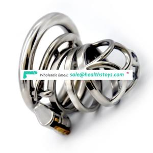 FRRK 6cm SM man sex shop lock penis in cage with keyholder stainless steel lock chastity cage Metal chastity device for male