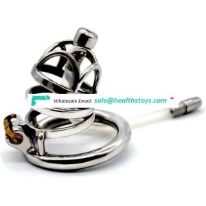 FRRK 6cm man chastity cage metal  lock penis in cage cock ring with catheter Male chastity device