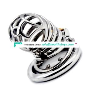 FRRK 70mm sex shop lock penis in cage with keyholder Male chastity device  chastity cage stainless steel lock chastity cage