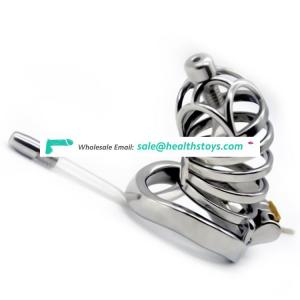 FRRK 74mm curved ring cock cage  metal penis cage for male chastity device with catheter chastity cage SM sex products