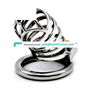 FRRK 7cm  304stainless steel man chastity lock penis cage chastity cage  for male chastity device cock ring