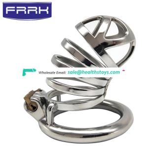 FRRK 7cm man chastity cage  lock penis in cage with keyholder SM sex toys metal chastity cage Male chastity device
