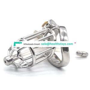 FRRK 80mm 304 stainless steel cock cage  Male chastity device with catheter  penis cage curved ring chastity cage