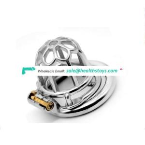 FRRK Anti-drop Chastity Device Male Stainless Steel Chastity Belt Openwork Cock Cage Metal Sex Products toys sex adult for men