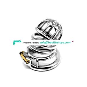 FRRK Metal Chastity Belt Penis Ring Sex Toys Cock Lock Adult Products Plum Male Chastity Devices Stainless Steel Large Cock Cage