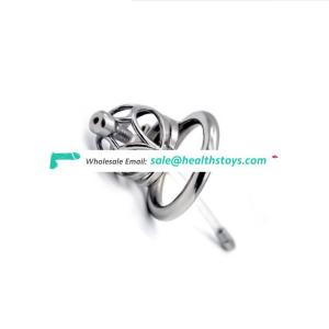 FRRK Mlae Penis Ring 304 Stainless Steel Metal Cage Chastity Male Cock Cage Restraint Ring Belt Bird With Catheter Sex Toy