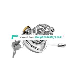 FRRK New Cage Head Metal Male Chastity Device SM Sex Toy stainless steel cock cage for men with anti off rings
