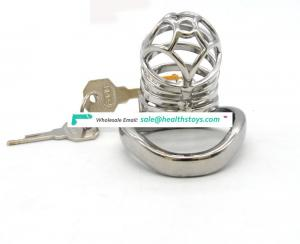 FRRK male chastity device bending Cock Ring Prison Cage 304 Stainless Steel Sex Games Bondage Cage arc ring for young