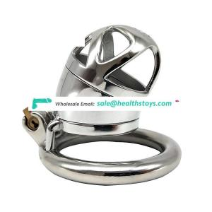 FRRK stainless steel chastity cock cage with penis plug mens metal chastity device