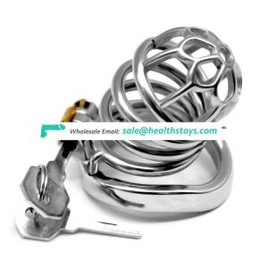 FRRK03E sex shop FRRK 8cm long chastity cock cage with waved cock ring stainless steel chastity cage sex toys for male
