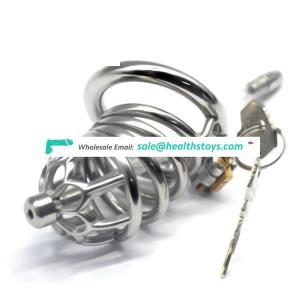 FRRK64mm 304 stainless steel metal chastity chastity device with catheter chastity cage lock penis cage for male
