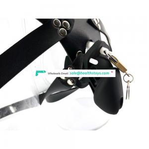 QC03B  sex shop 10cm Black man chastity cage  lock penis in cage with silicone keyholder Male chastity device chastity belt faak