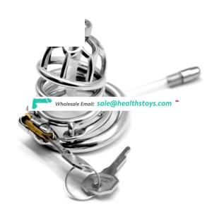 Stainless Steel Chastity Belt Penis Cage Cock Ring Sleeve Male Chastity Device  Wire Cock Cage With Urethral Catheter Sex Toys