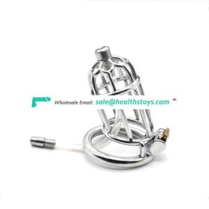 Stainless Steel Chastity Belt Penis Cage Cock Ring Sleeve Male Chastity Device Sex Toys chicken cock cage With Urethral Catheter